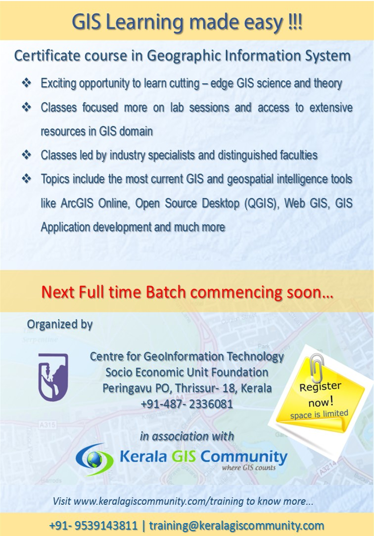 Kerala gis community certificate course in geographic information system next batch starts soon 1betcityfo Gallery